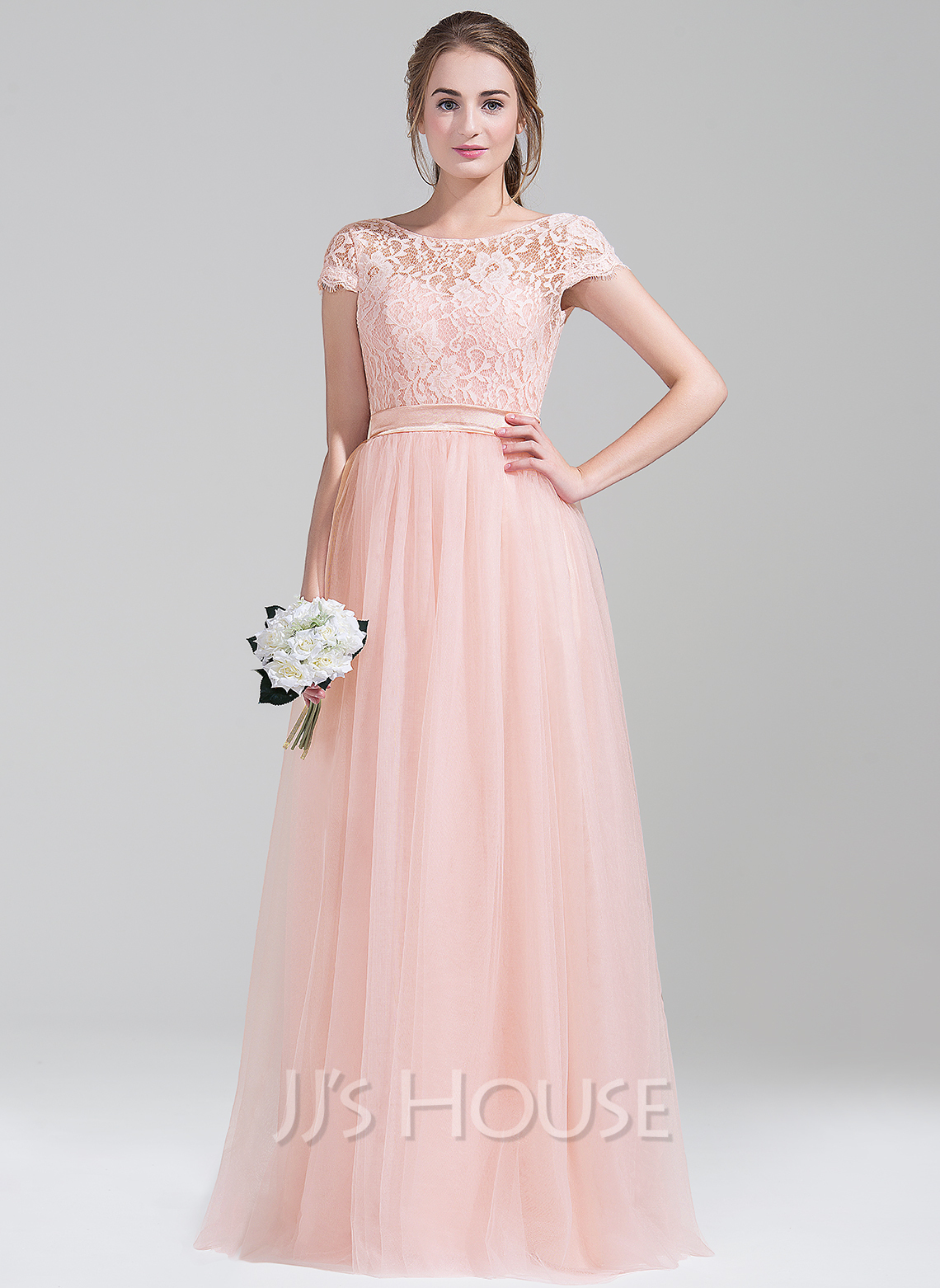 Scoop Neck Floor-Length Tulle Lace Bridesmaid Dress With Bow(s)