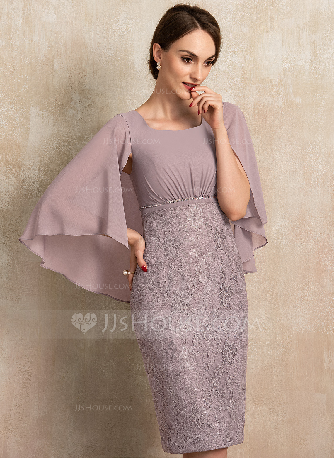 Sheath/Column Square Neckline Knee-Length Chiffon Lace Mother of the Bride Dress With Ruffle Beading Sequins
