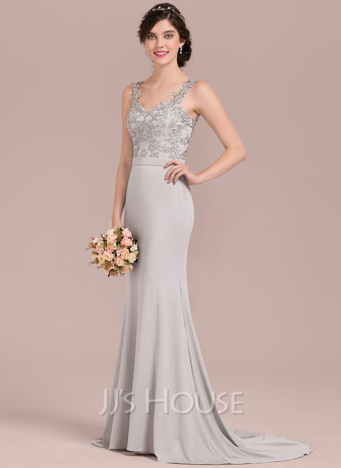 b9566bece1 Trumpet Mermaid Sweetheart Sweep Train Lace Jersey Bridesmaid Dress With  Beading Sequins. Loading zoom