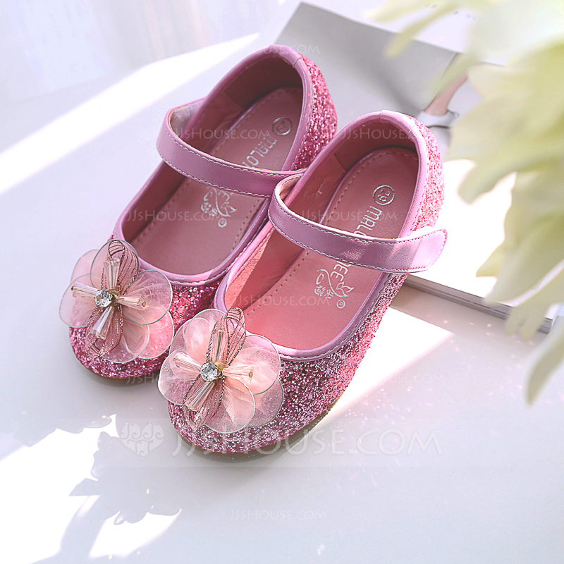 081f401cdb12 Girl s Round Toe Closed Toe Leatherette Sparkling Glitter Flat Heel Flats  Flower Girl Shoes With Stitching. Loading zoom