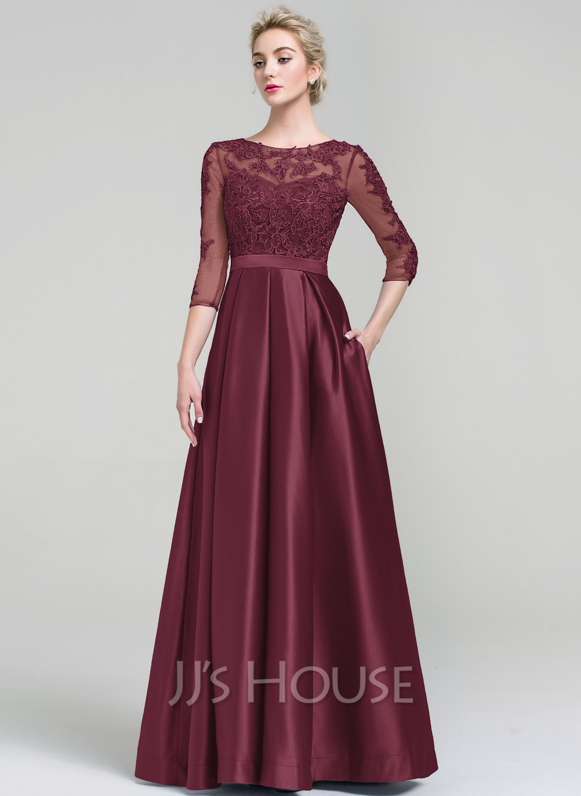 Ball-Gown Scoop Neck Floor-Length Satin Evening Dress With Pockets ...