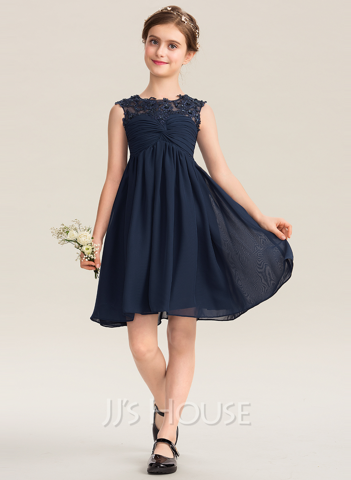 Scoop Neck Knee-Length Chiffon Lace Junior Bridesmaid Dress With Ruffle Beading Sequins