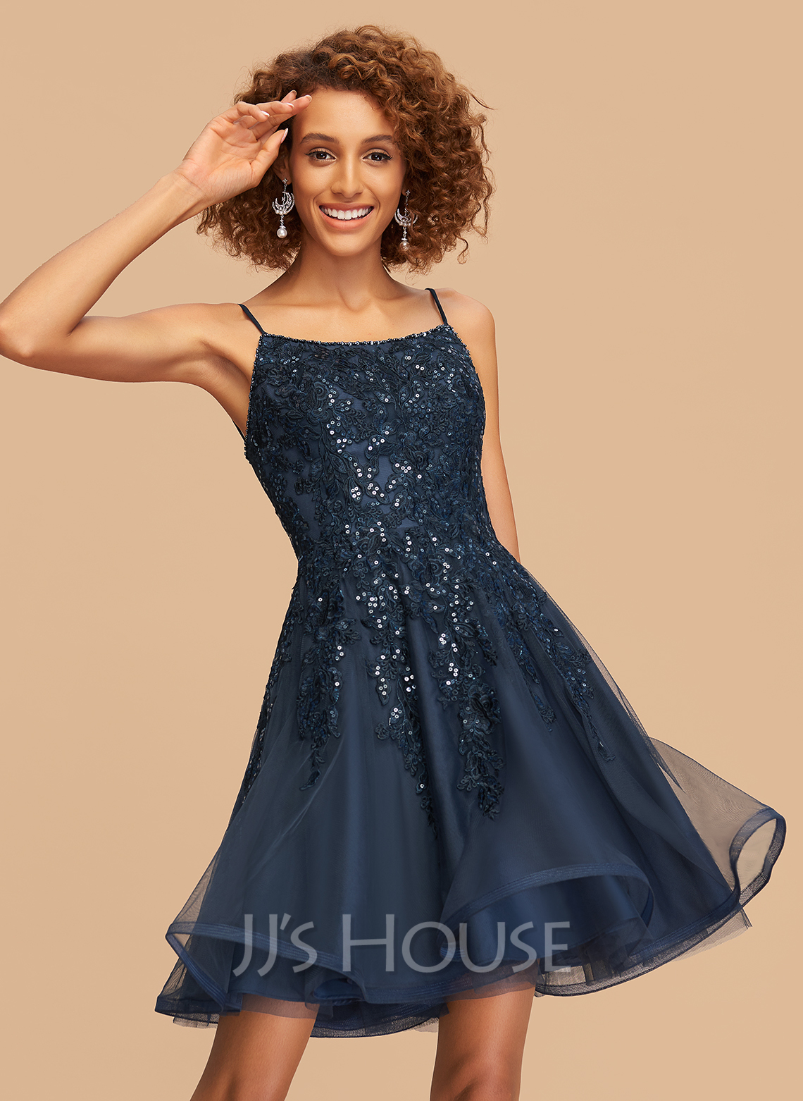 A-Line Square Neckline Short/Mini Tulle Homecoming Dress With Lace Beading Sequins