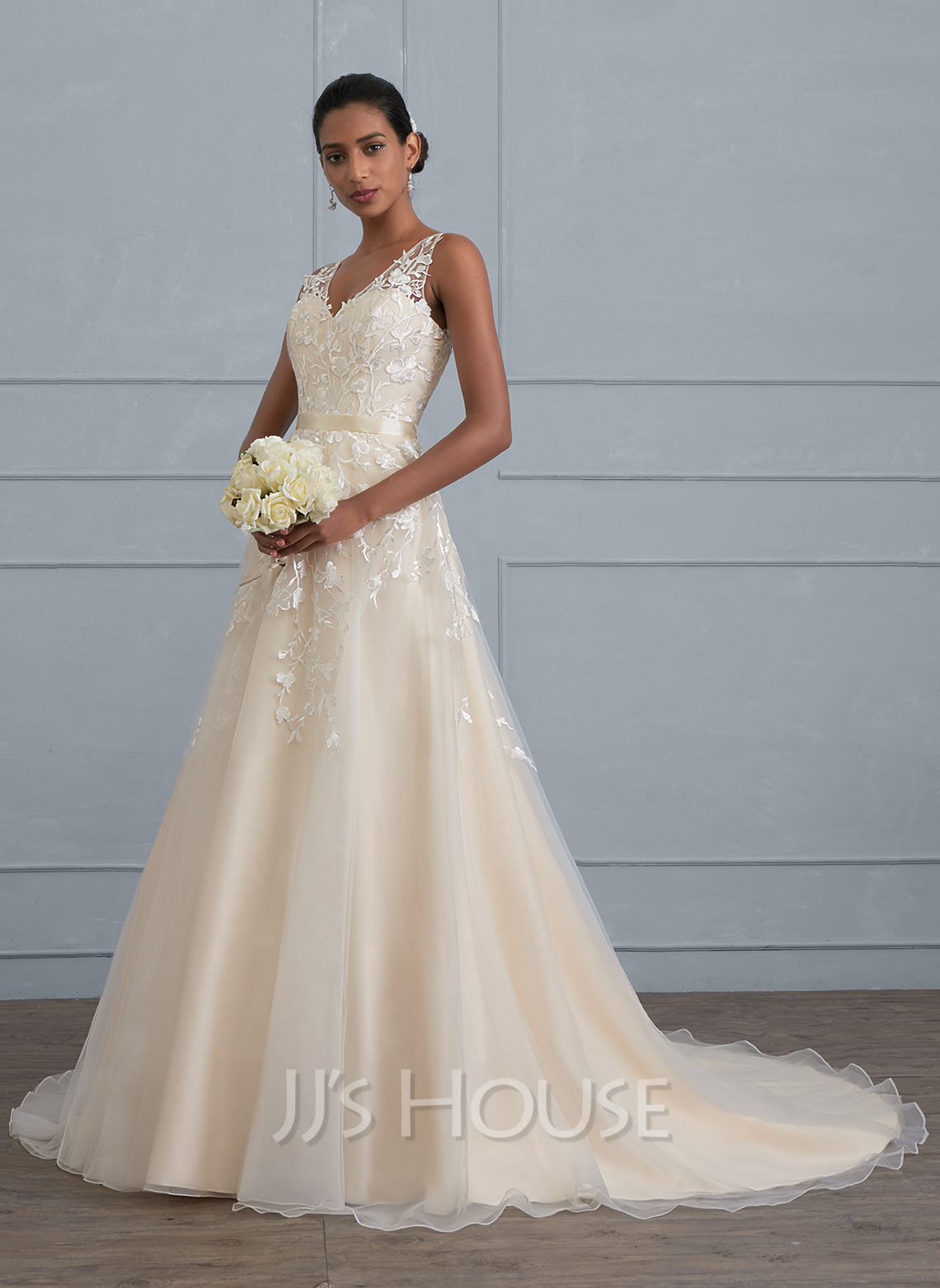 4c87b23a2 Ball-Gown V-neck Court Train Tulle Wedding Dress (002121429 ...