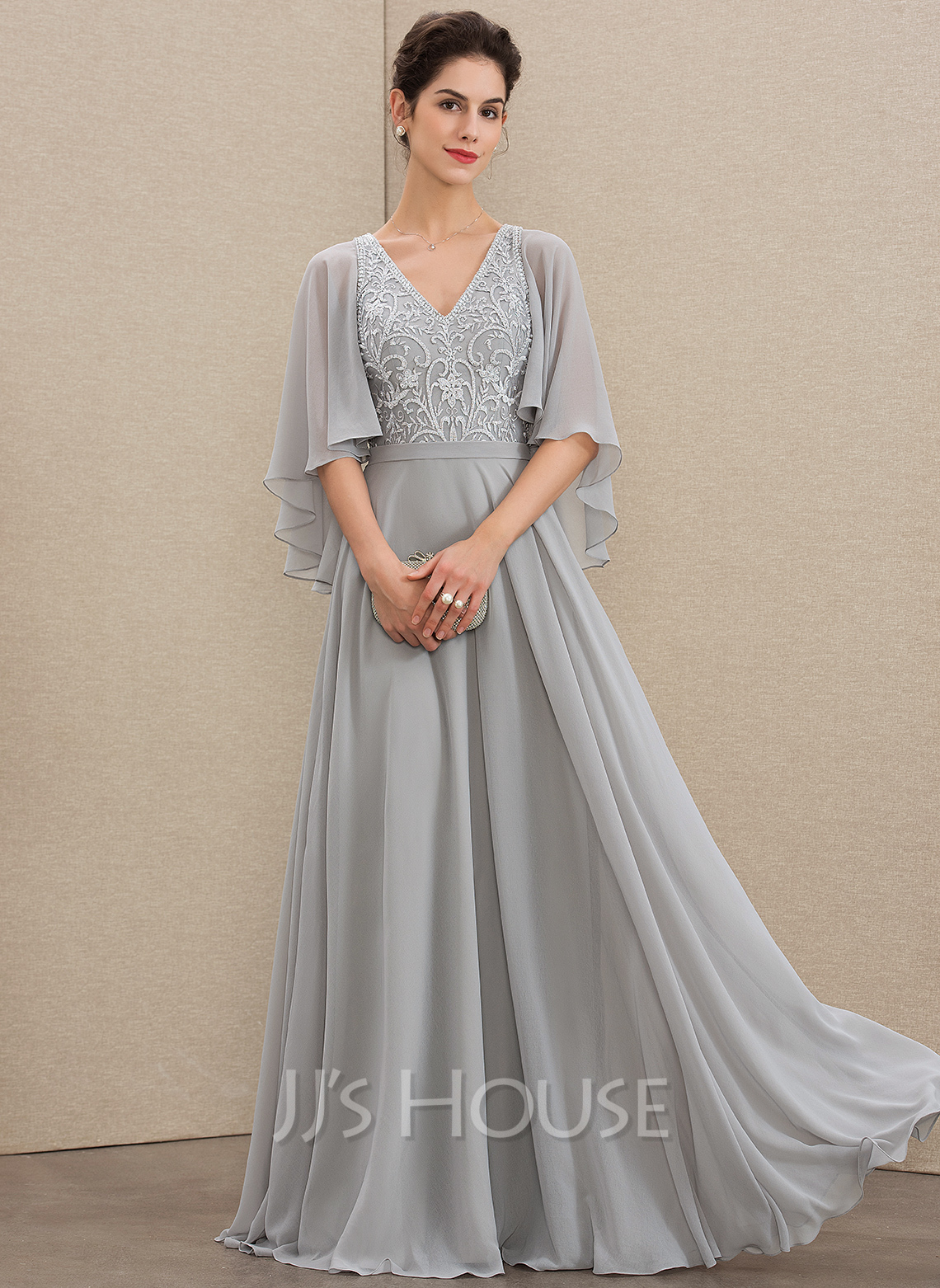 938e249bb A-Line V-neck Floor-Length Chiffon Lace Mother of the Bride Dress. Loading  zoom