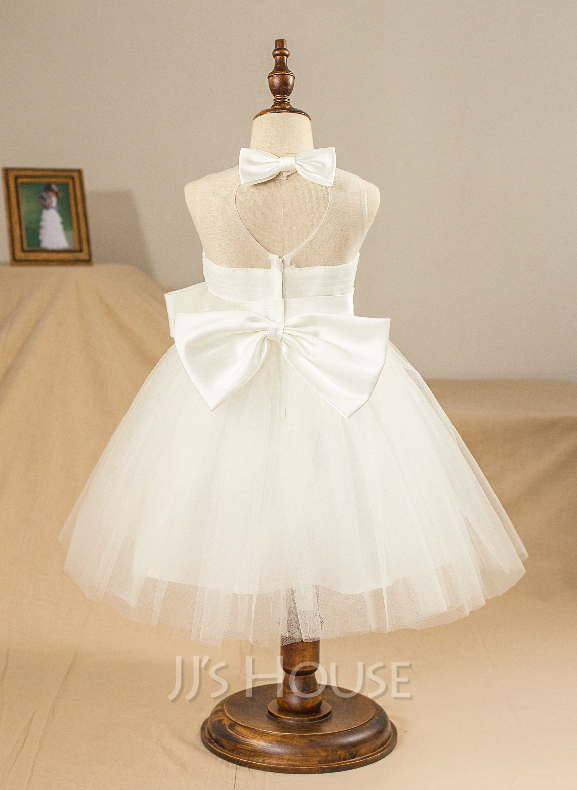 Knee-length Flower Girl Dress - Satin Tulle Sleeveless Jewel With Bow(s) Pleated Back Hole