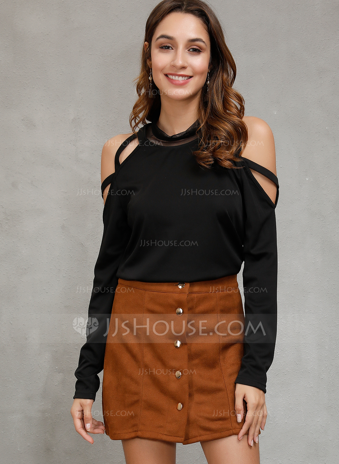 Long Sleeves Polyester Cold Shoulder Bluzlar