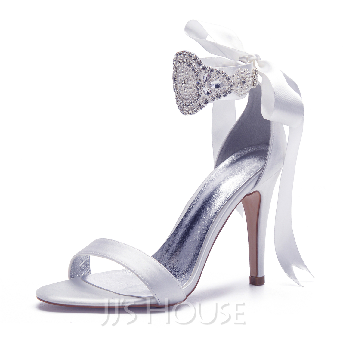 Women's Satin Stiletto Heel Sandals With Bowknot Rhinestone Lace-up