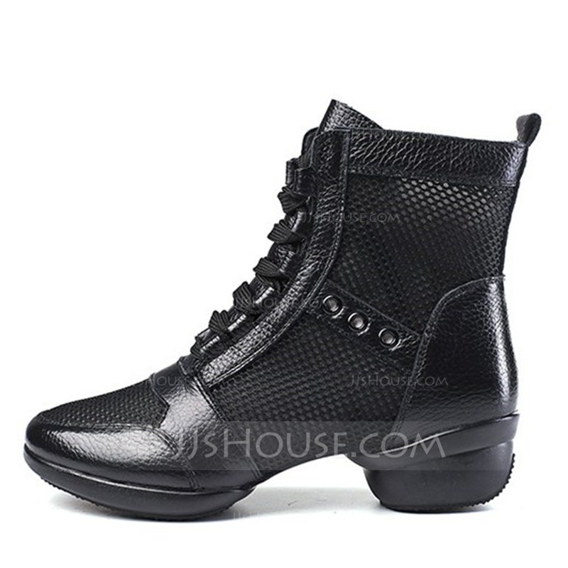 Women's Real Leather Mesh Boots Modern Dance Boots Dance Shoes