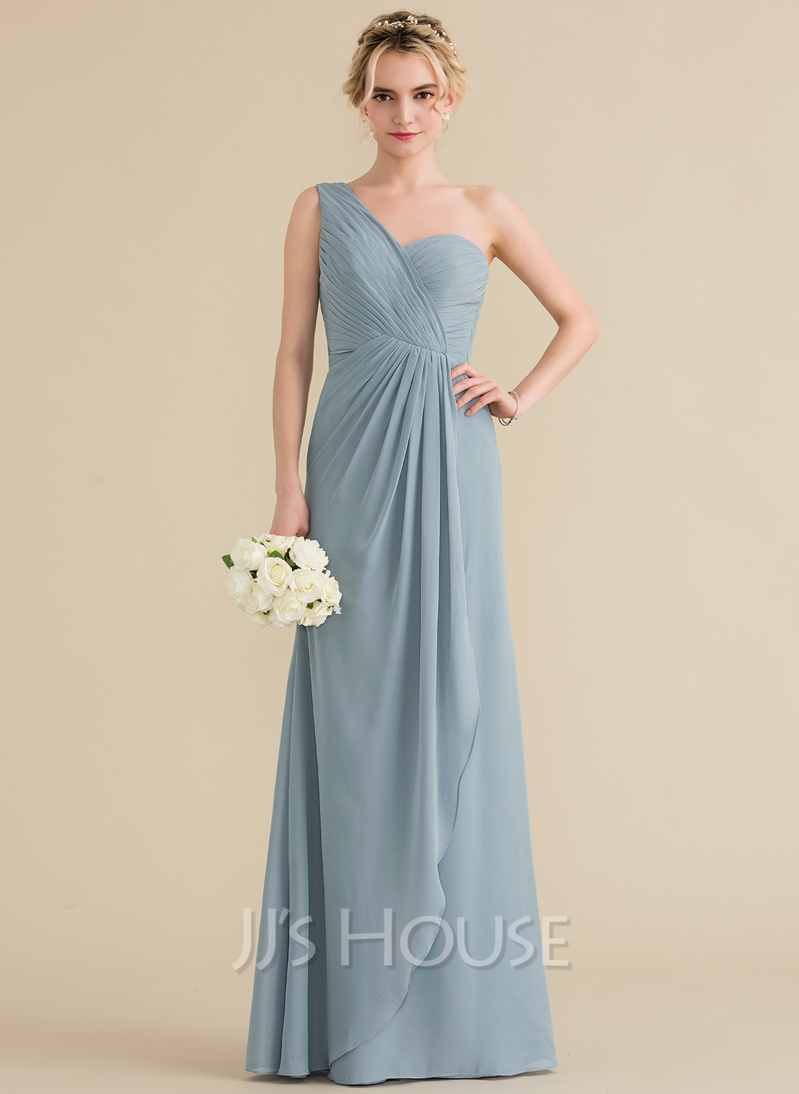 06872589d98f A-Line/Princess One-Shoulder Floor-Length Chiffon Bridesmaid Dress With  Cascading. Loading zoom