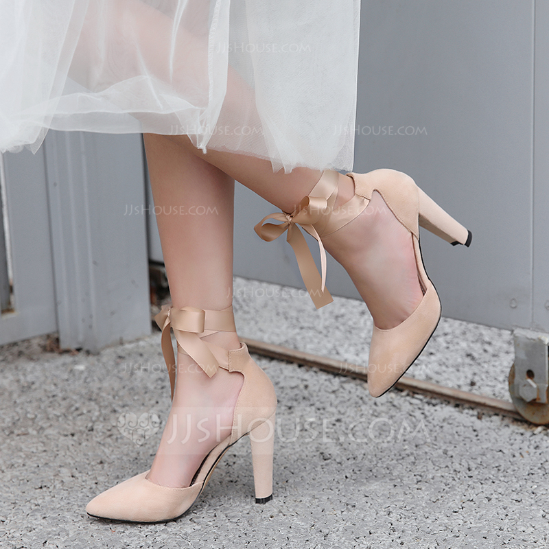 Women's Suede Cone Heel Sandals Pumps Closed Toe With Ribbon Tie Lace-up shoes