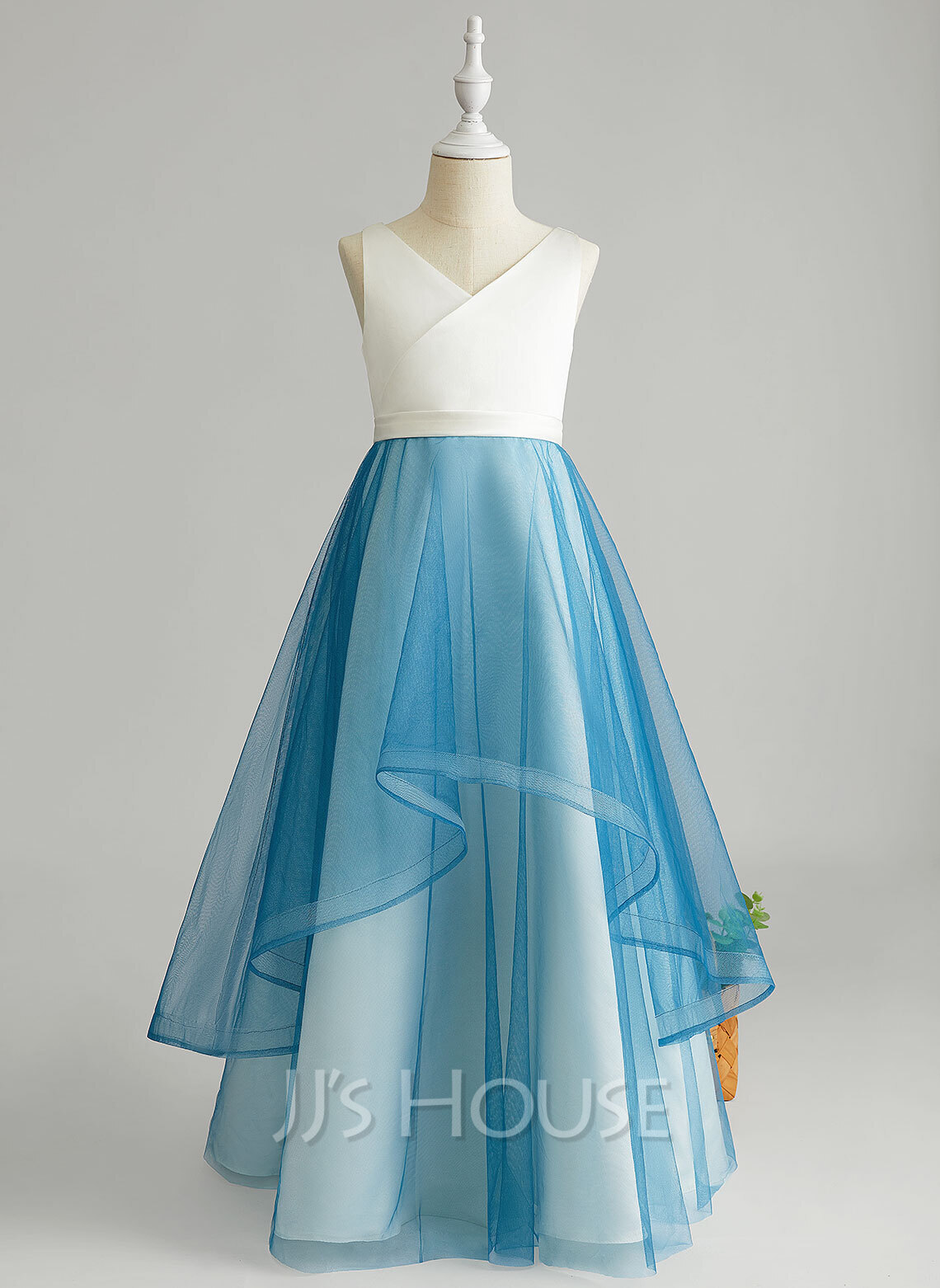 Floor-length Flower Girl Dress - Tulle Sleeveless V-neck With Ruffles