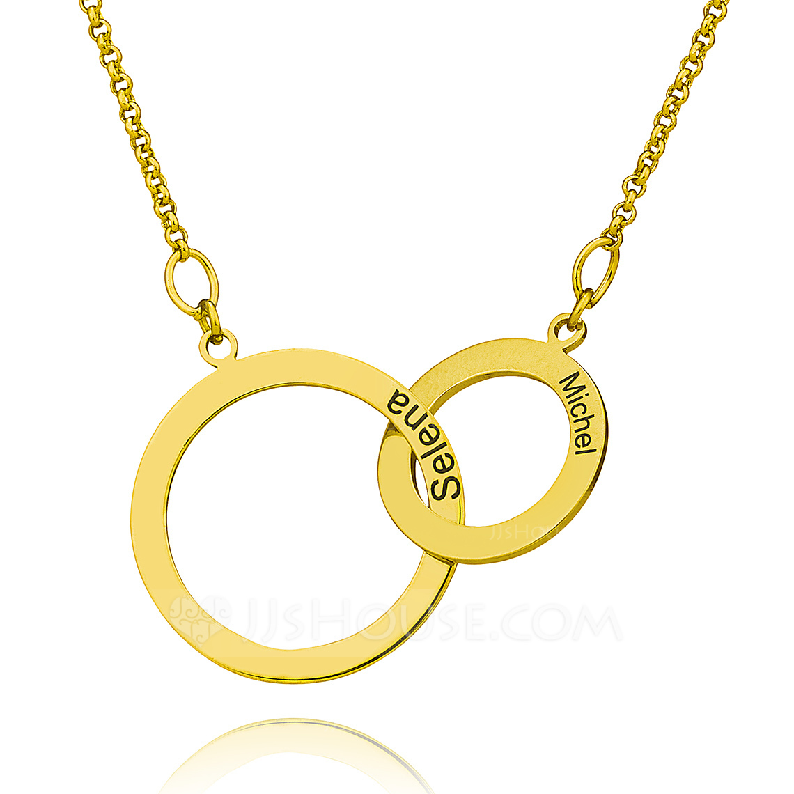 Custom 18k Gold Plated Silver Cross Circle Two Engraved Necklace Circle Necklace - Christmas Gifts