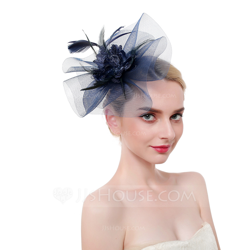 Ladies' Classic/Elegant/Eye-catching Feather/Net Yarn With Feather Fascinators