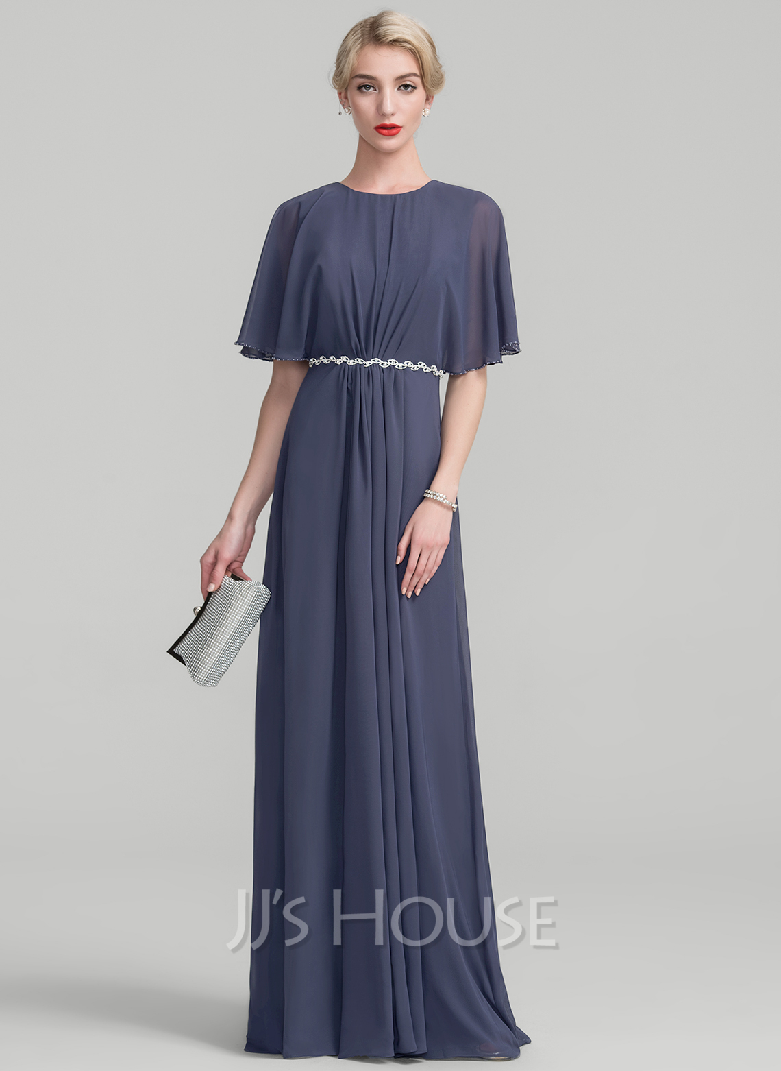 Scoop Neck Floor-Length Chiffon Evening Dress With Ruffle Lace Beading