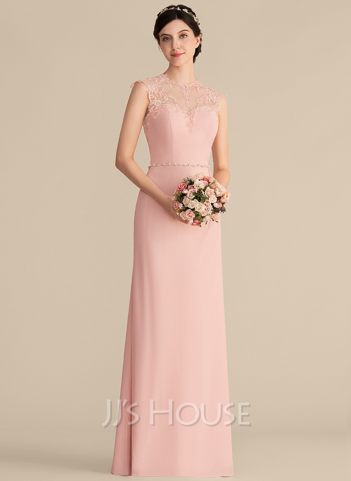 Scoop Neck Floor-Length Chiffon Lace Bridesmaid Dress With Beading