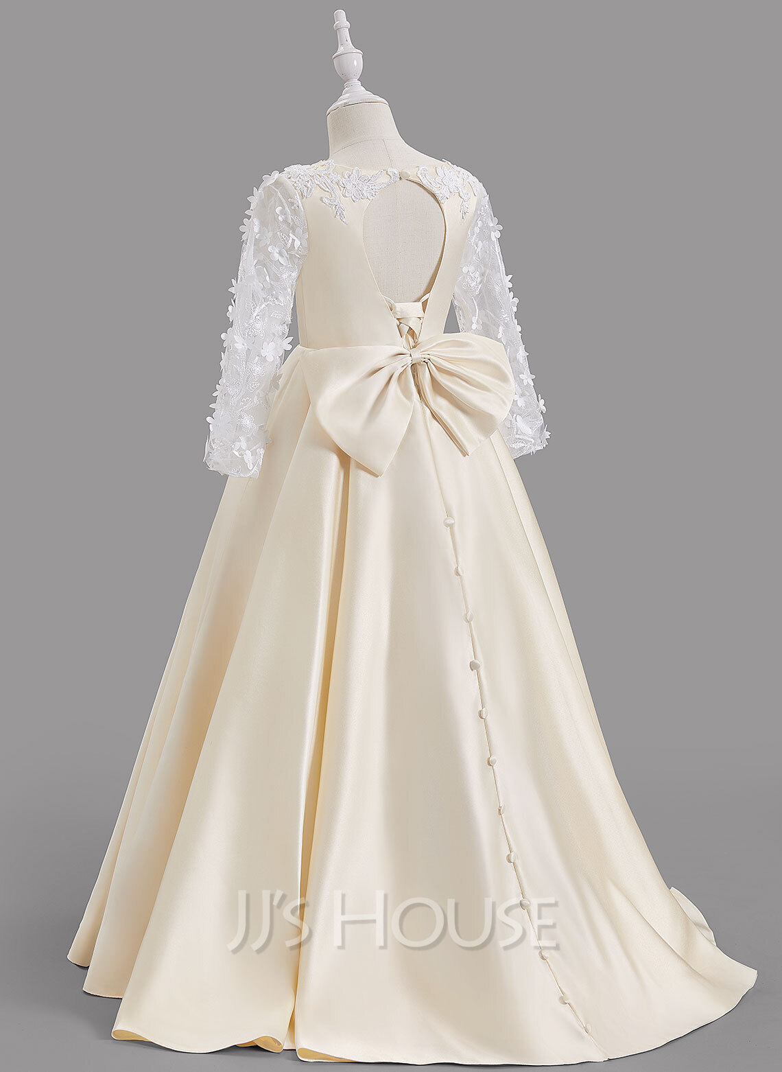 A-Line Sweep Train Flower Girl Dress - Satin Long Sleeves Scoop Neck With Bow(s)/Back Hole