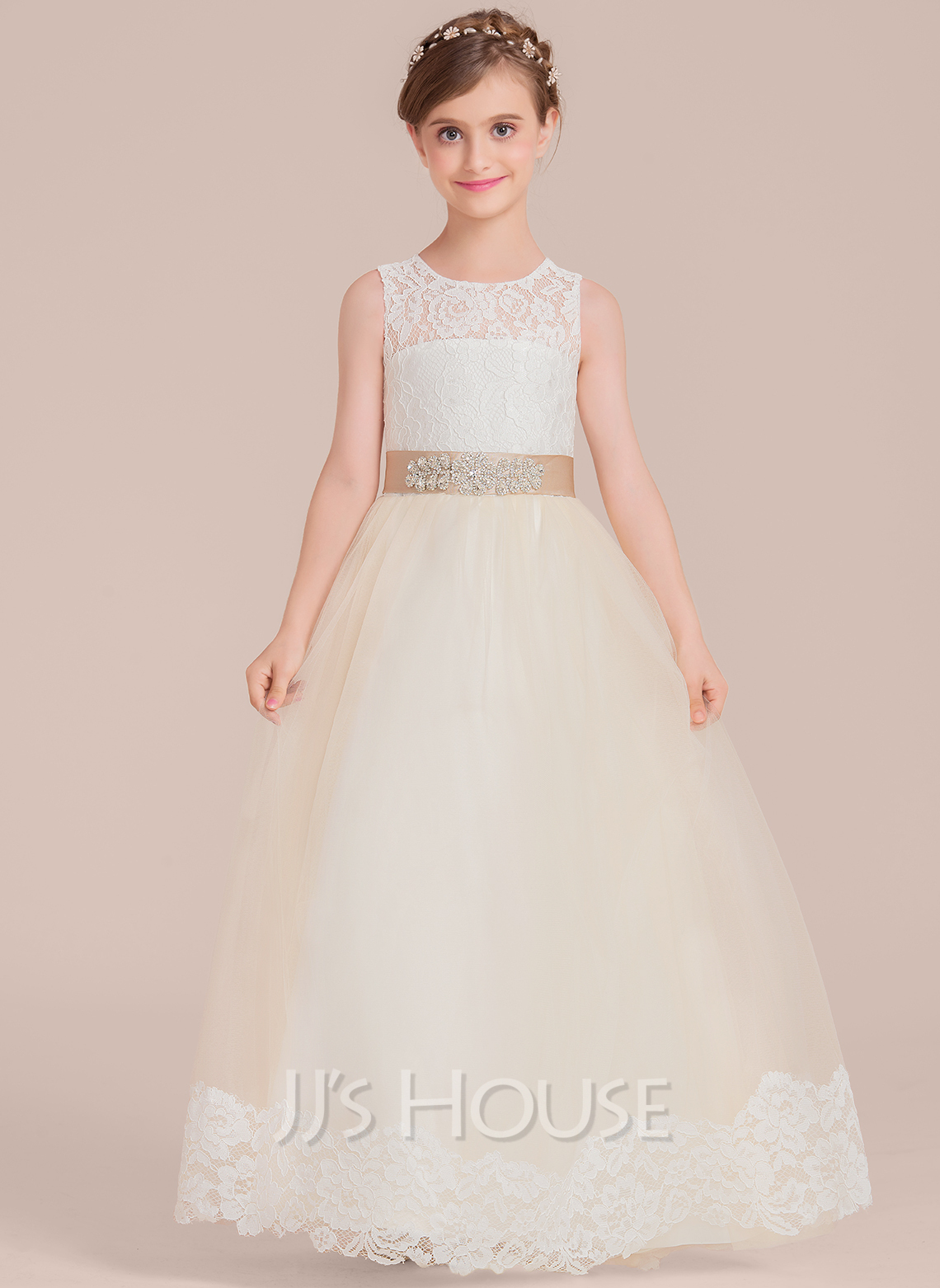 288347a29c Ball Gown Floor-length Flower Girl Dress - Satin Tulle Lace Sleeveless Scoop  Neck With Sash Beading  136608