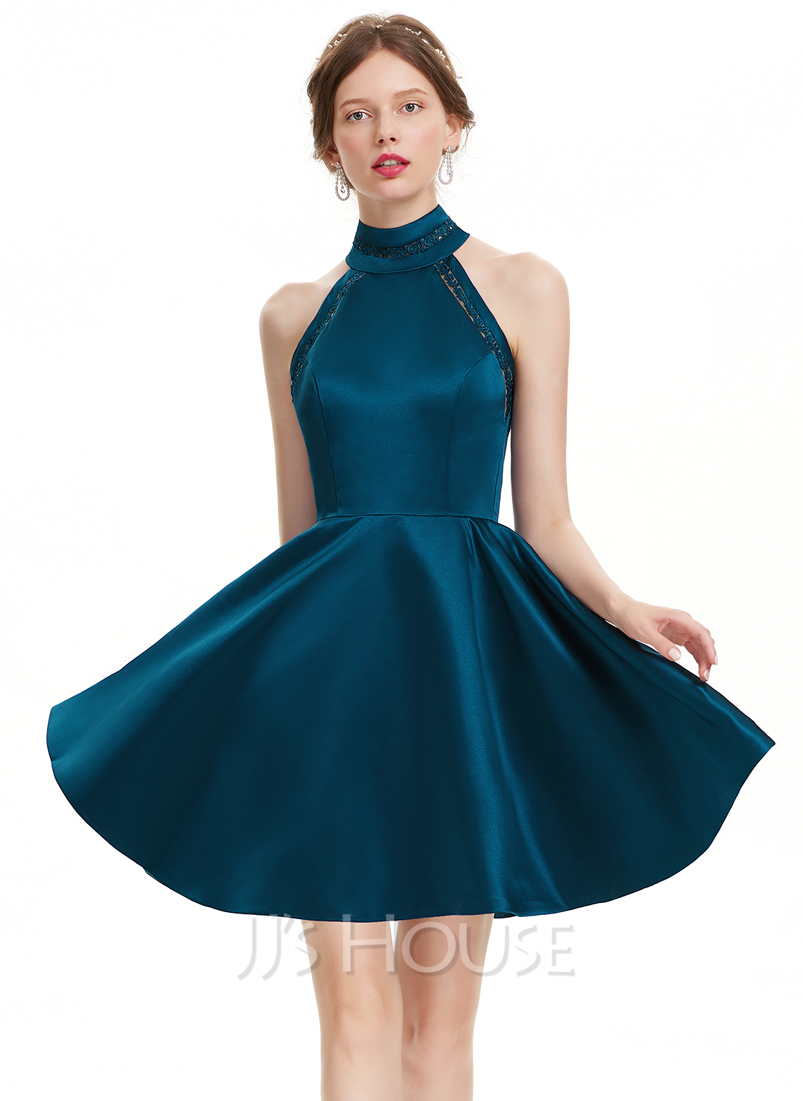 A-Linie High Neck Kurz/Mini Satin Abiballkleid