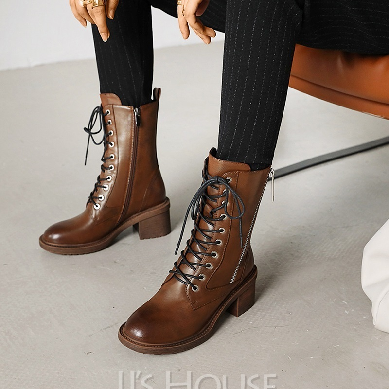 Women's Microfiber Leather Low Heel Mid-Calf Boots Martin Boots Round Toe With Lace-up Solid Color shoes