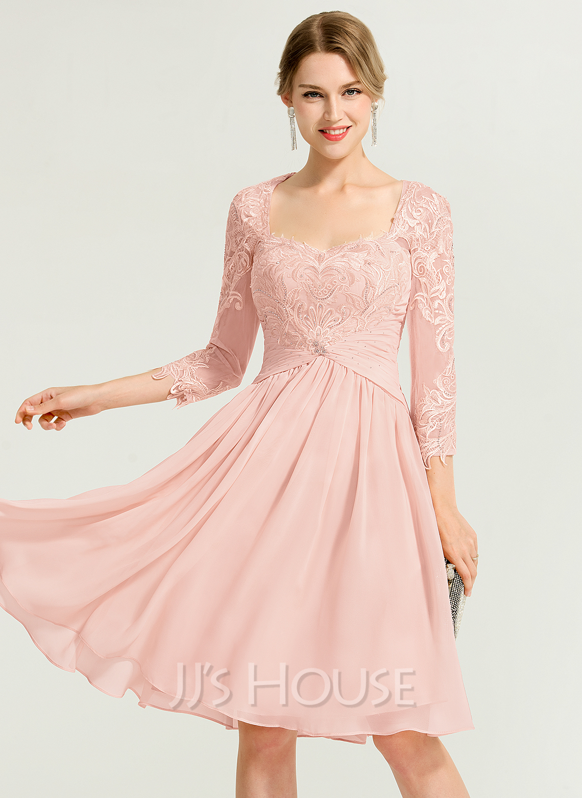 Sweetheart Knee-Length Chiffon Cocktail Dress With Ruffle Beading