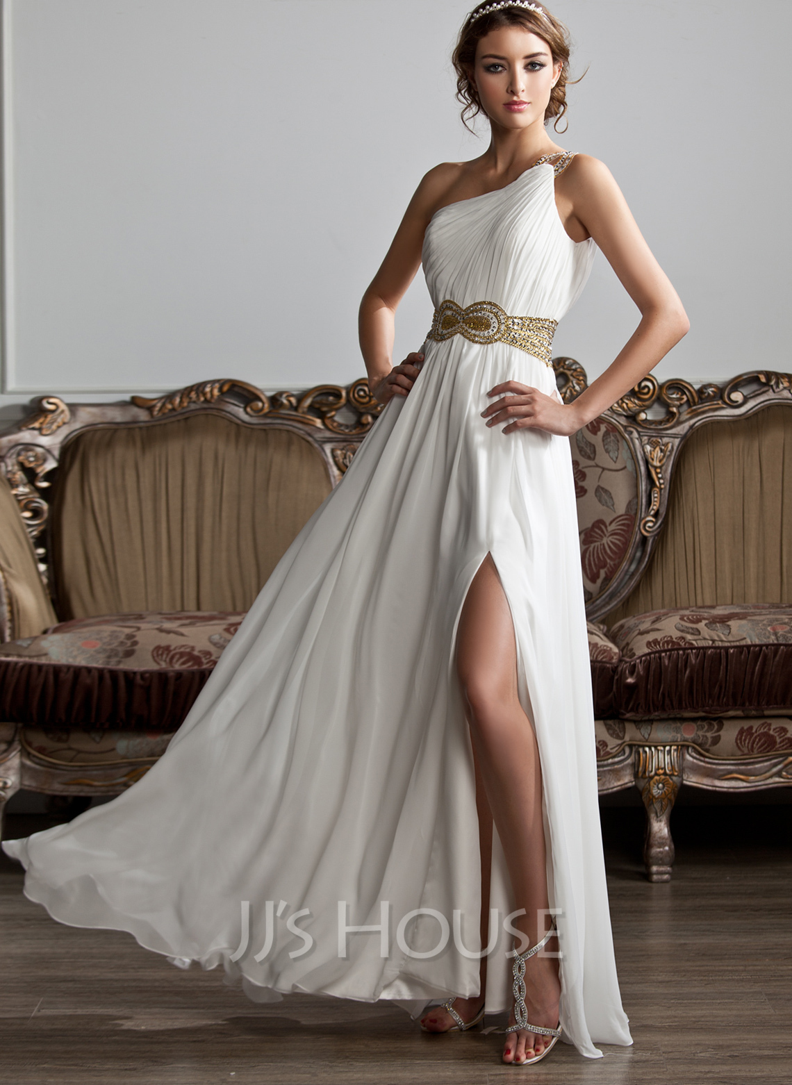 A-Line One-Shoulder Floor-Length Chiffon Wedding Dress With Ruffle Beading Sequins Split Front