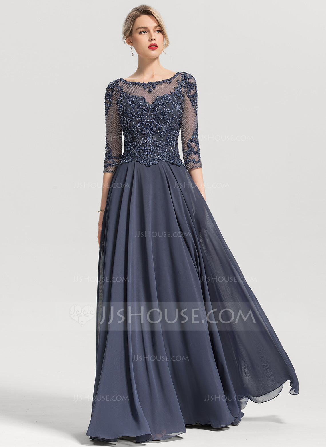 0899caa7a6 A-Line Scoop Neck Floor-Length Chiffon Prom Dresses With Beading Sequins.  Loading zoom