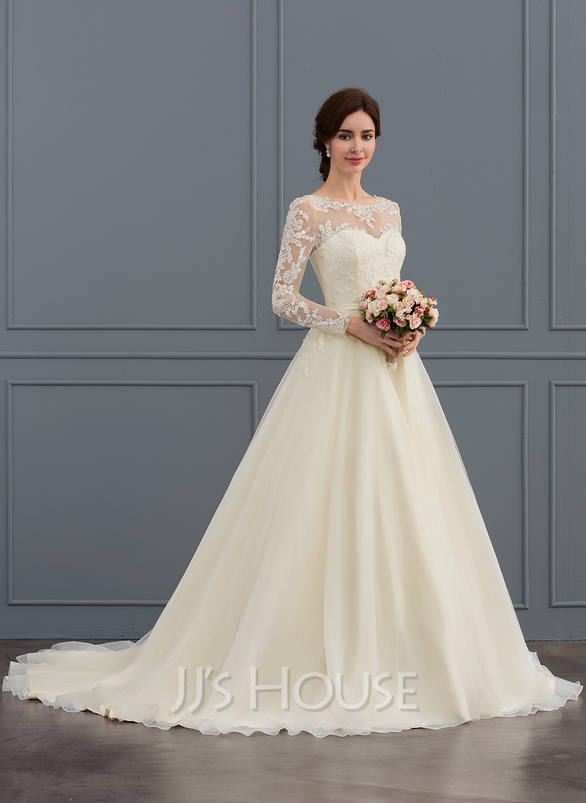2cad4739443 Ball-Gown Princess Illusion Court Train Tulle Lace Wedding Dress With  Beading Sequins. Loading zoom