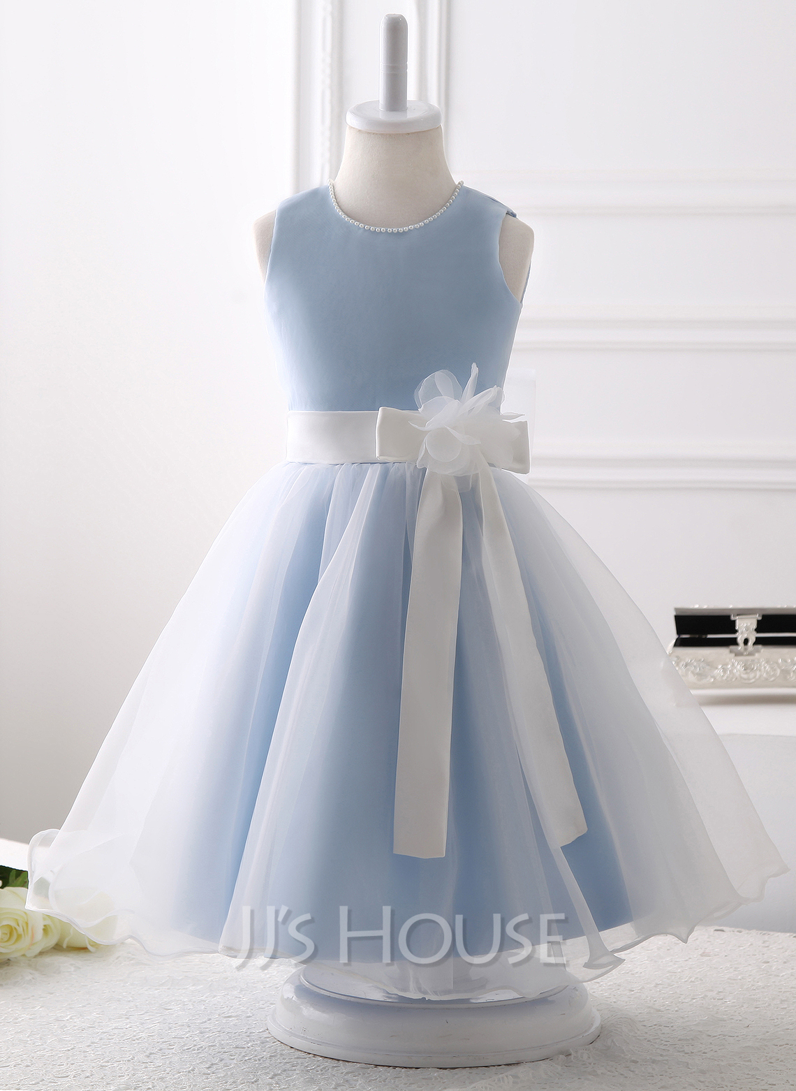 Knee-length Flower Girl Dress - Organza Sleeveless Scoop Neck With Beading Flower(s) Bow(s)
