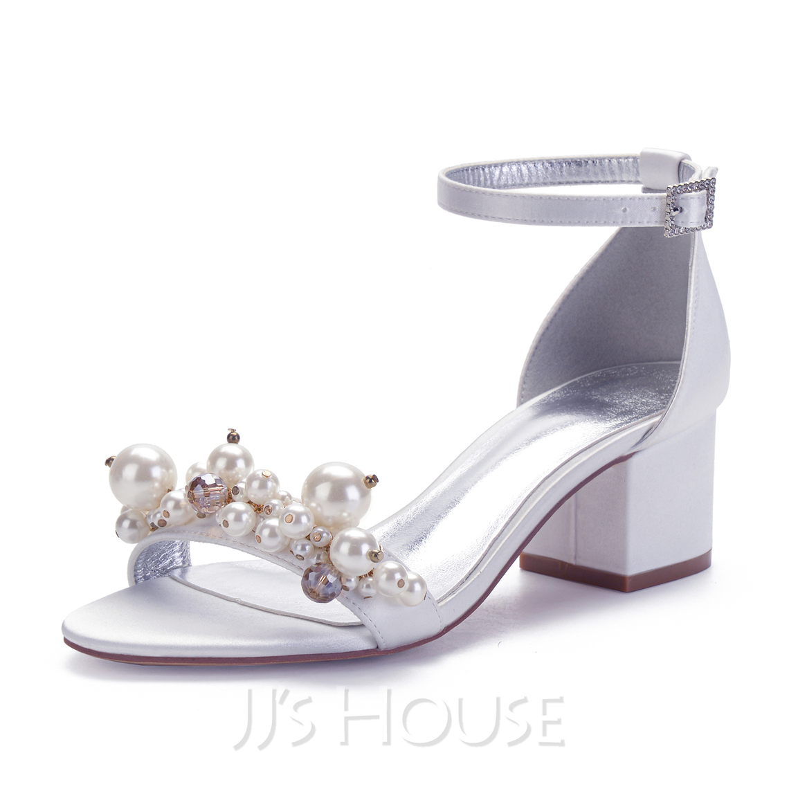 Women's Lace Chunky Heel Sandals With Rhinestone Pearl