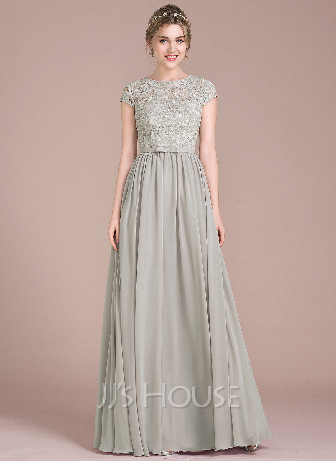 321f9e027e8 A-Line/Princess Scoop Neck Floor-Length Chiffon Lace Bridesmaid Dress With  Bow. Loading zoom