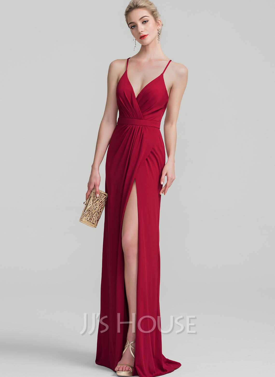 Jersey Evening Dress With Ruffle