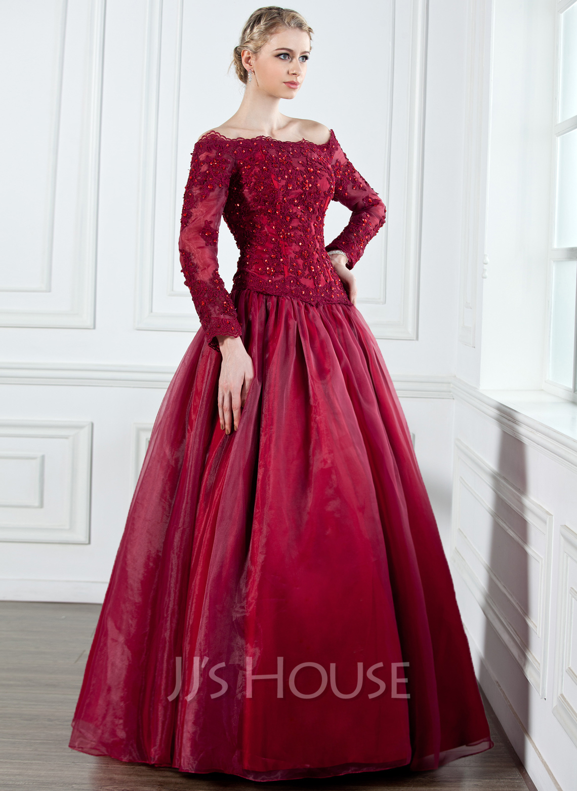 A-Line Off-the-Shoulder Floor-Length Organza Mother of the Bride Dress With Lace Beading