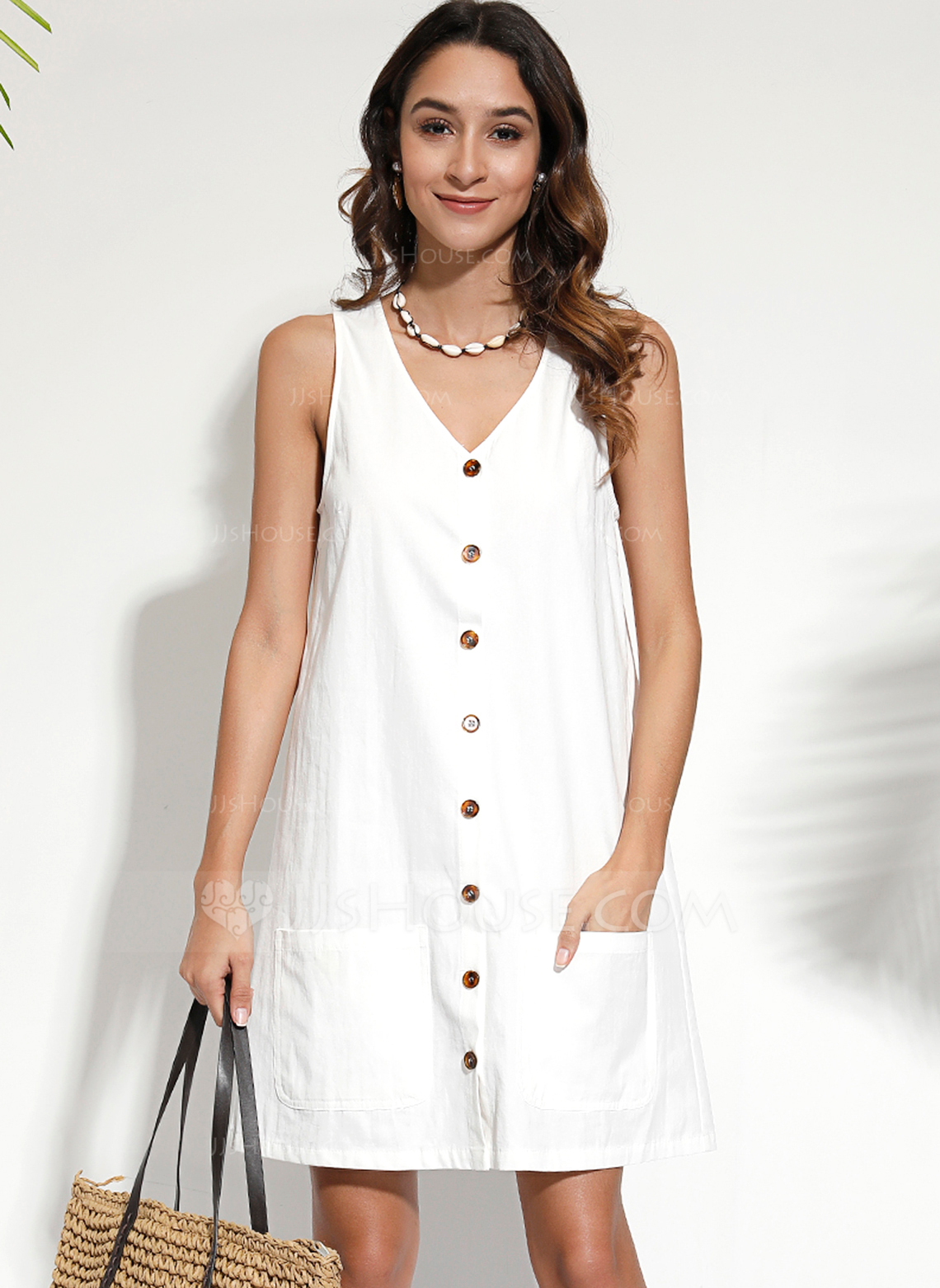 Polyester/Cotton With Button/Solid Knee Length Dress