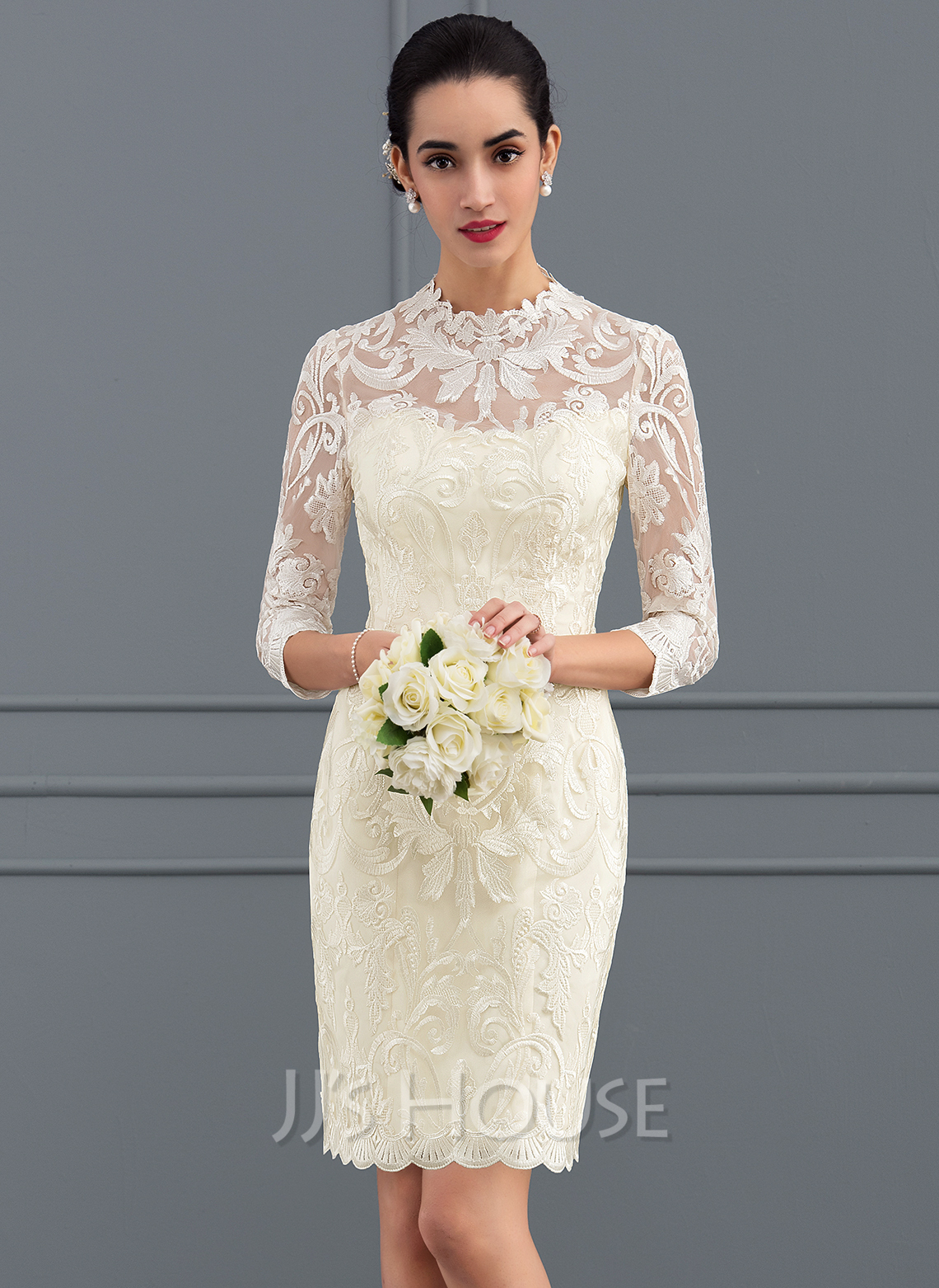 Sheath column scoop neck short mini lace wedding dress for Plus size after wedding dress