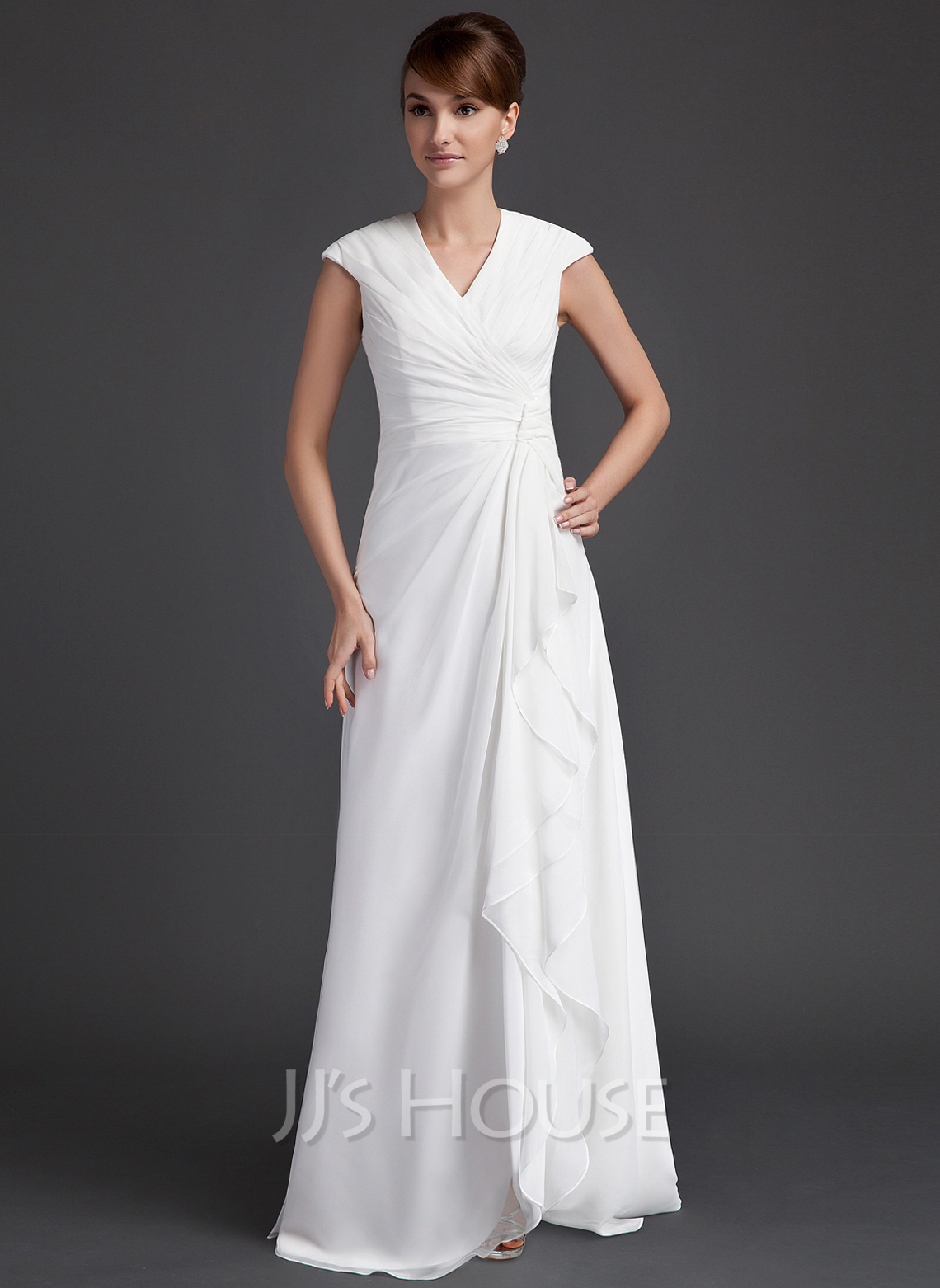 A-Line V-neck Floor-Length Chiffon Mother of the Bride Dress With Ruffle Cascading Ruffles