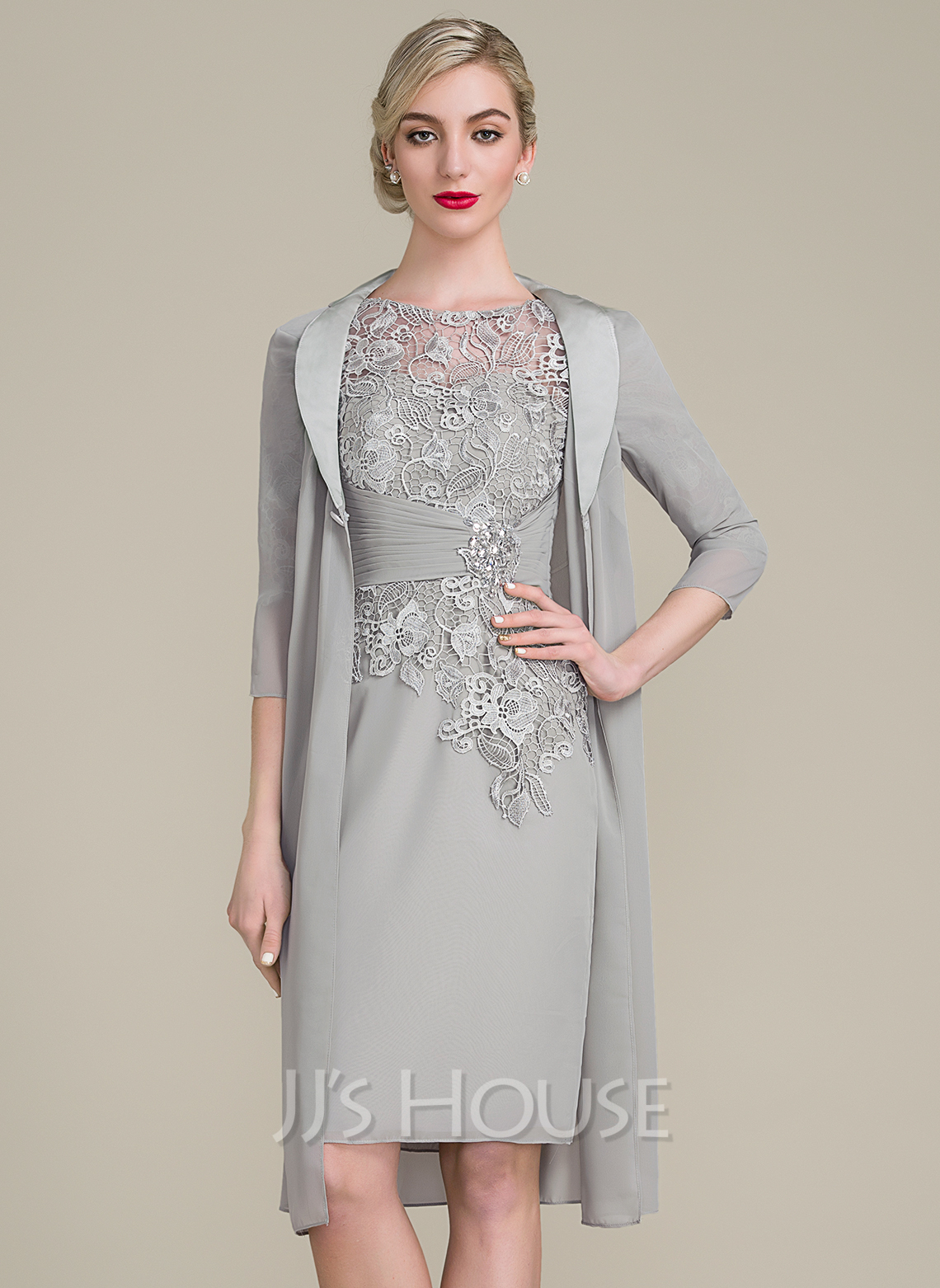 Sheath/Column Scoop Neck Knee,Length Chiffon Lace Mother of the Bride Dress  With Ruffle Beading (008102677)