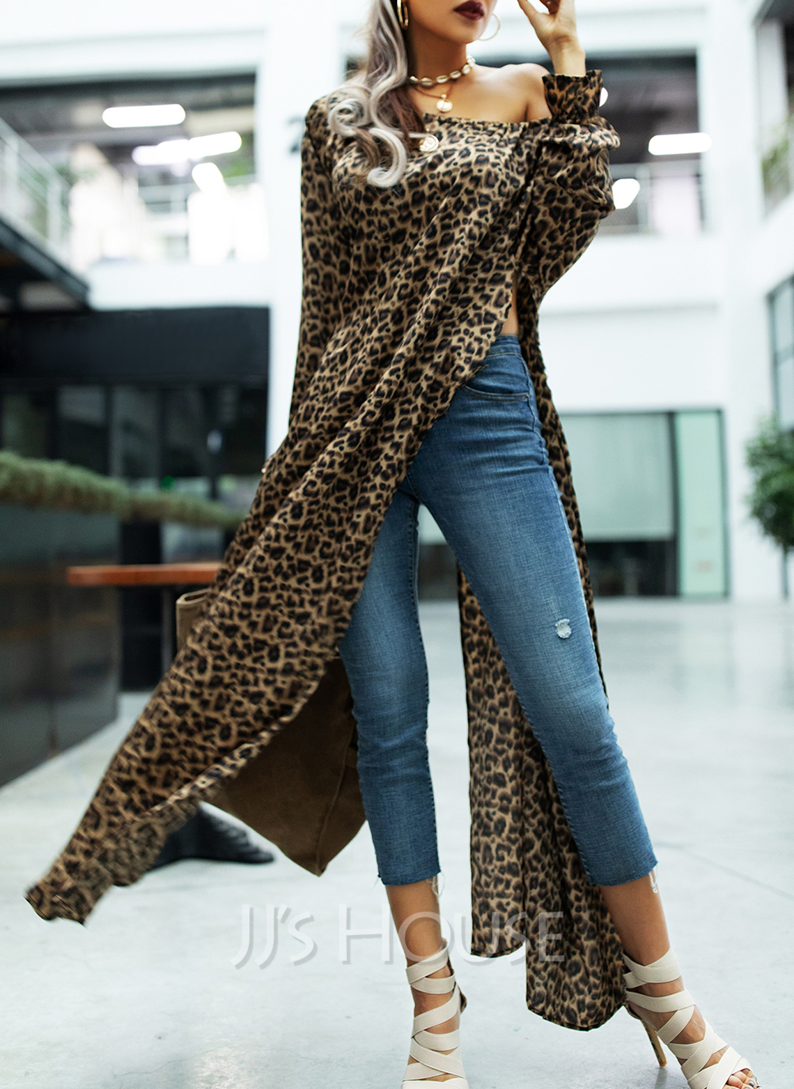 Leopard Shift Round Neck Long Sleeves Maxi Casual Dresses