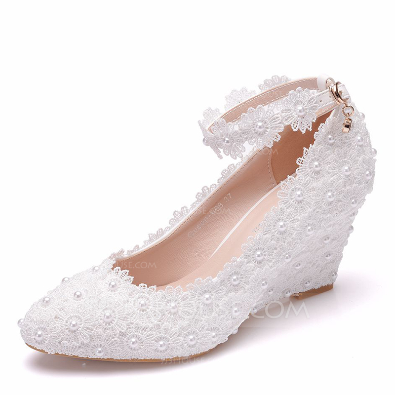 509454dd0a5 Women's Leatherette Fabric Wedge Heel Wedges With Imitation Pearl Flower  (047208071)