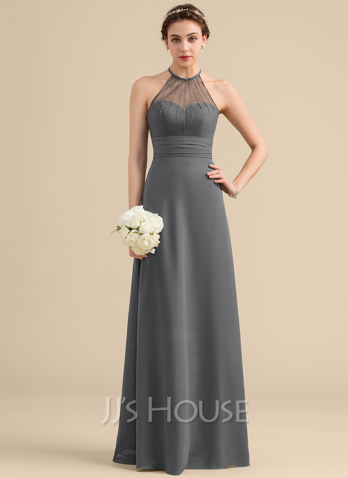 Scoop Neck Floor-Length Chiffon Bridesmaid Dress With Beading