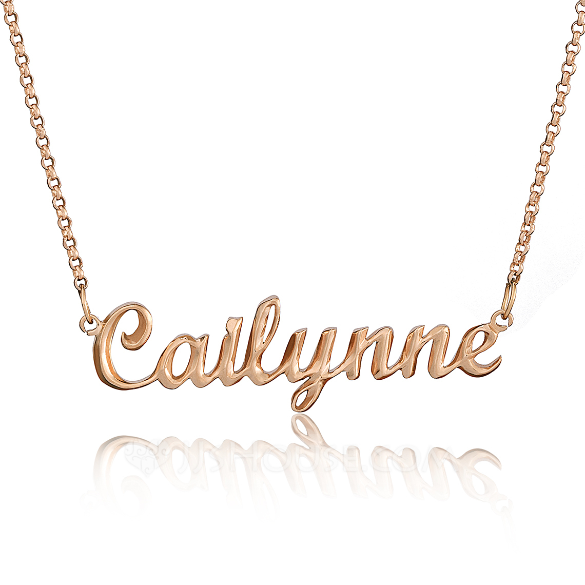 [Free Shipping]Custom 18k Rose Gold Plated Silver Name Necklace