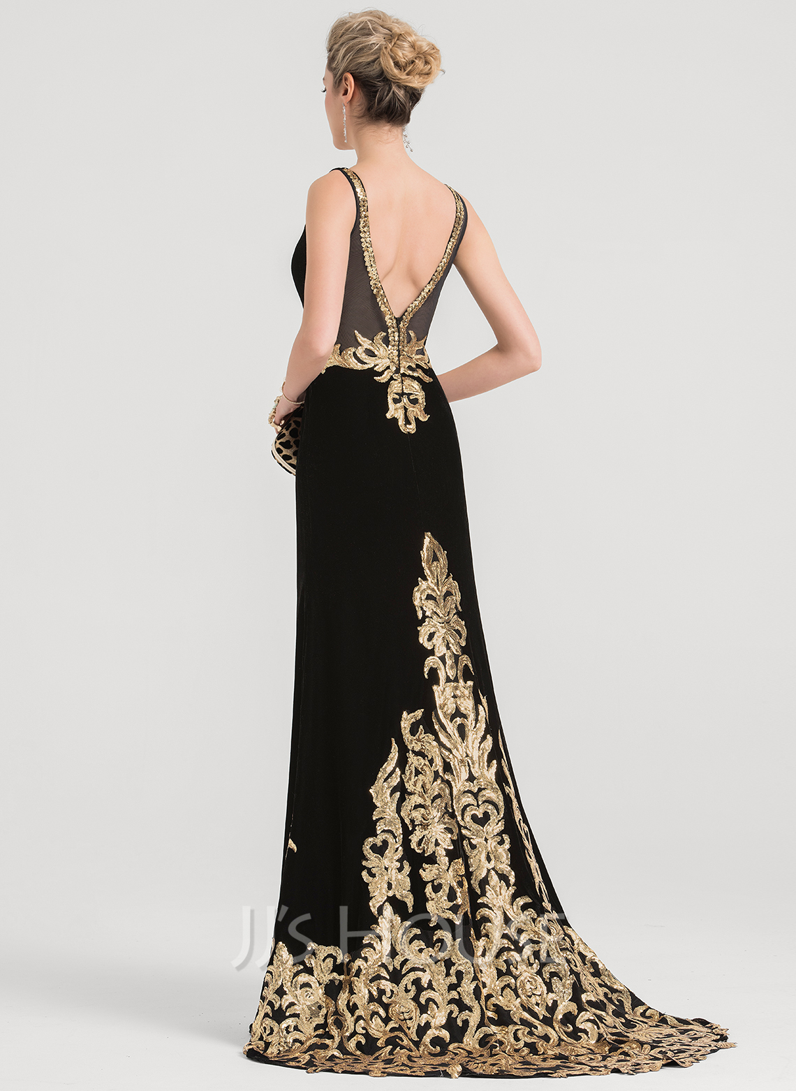 0ecdc935b09 Trumpet Mermaid V-neck Sweep Train Velvet Evening Dress With Sequins.  Loading zoom