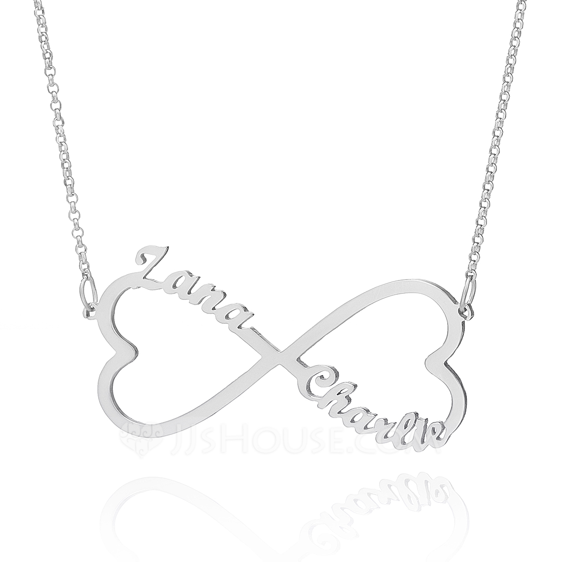 Custom Sterling Silver Infinity Two Name Necklace With Heart - Birthday Gifts Mother's Day Gifts