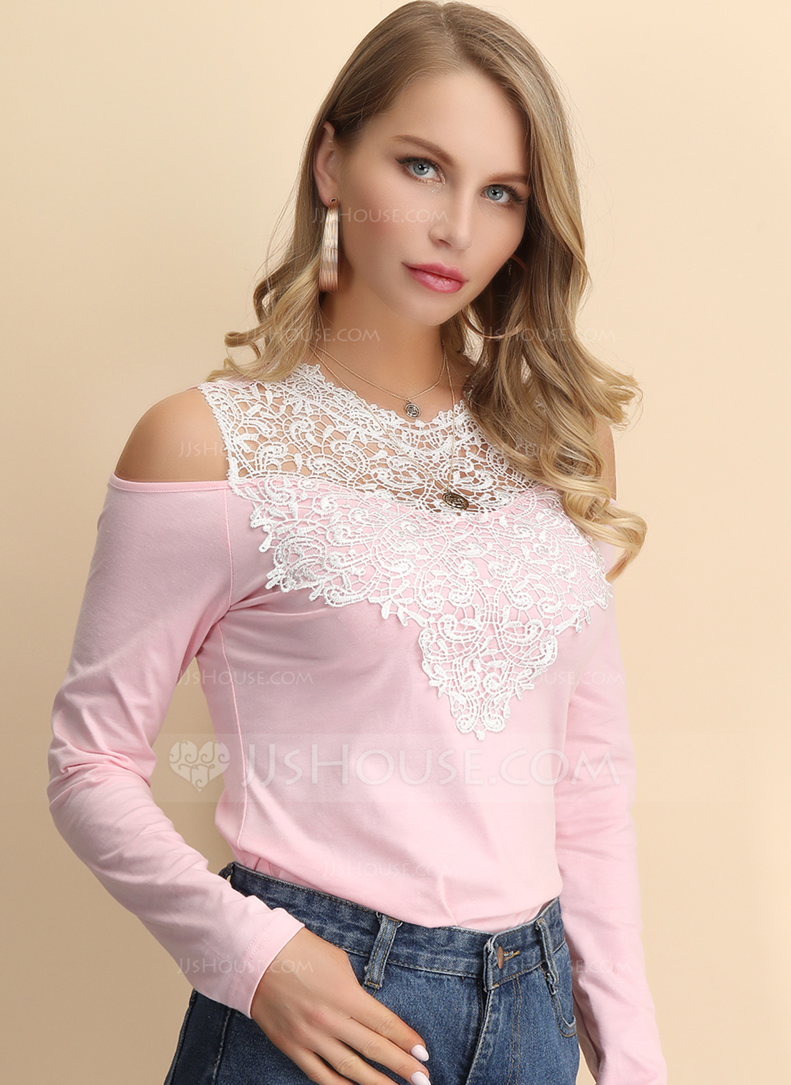 Long Sleeves Cotton Blends Polyester Round Neck Ticot Bluzlar