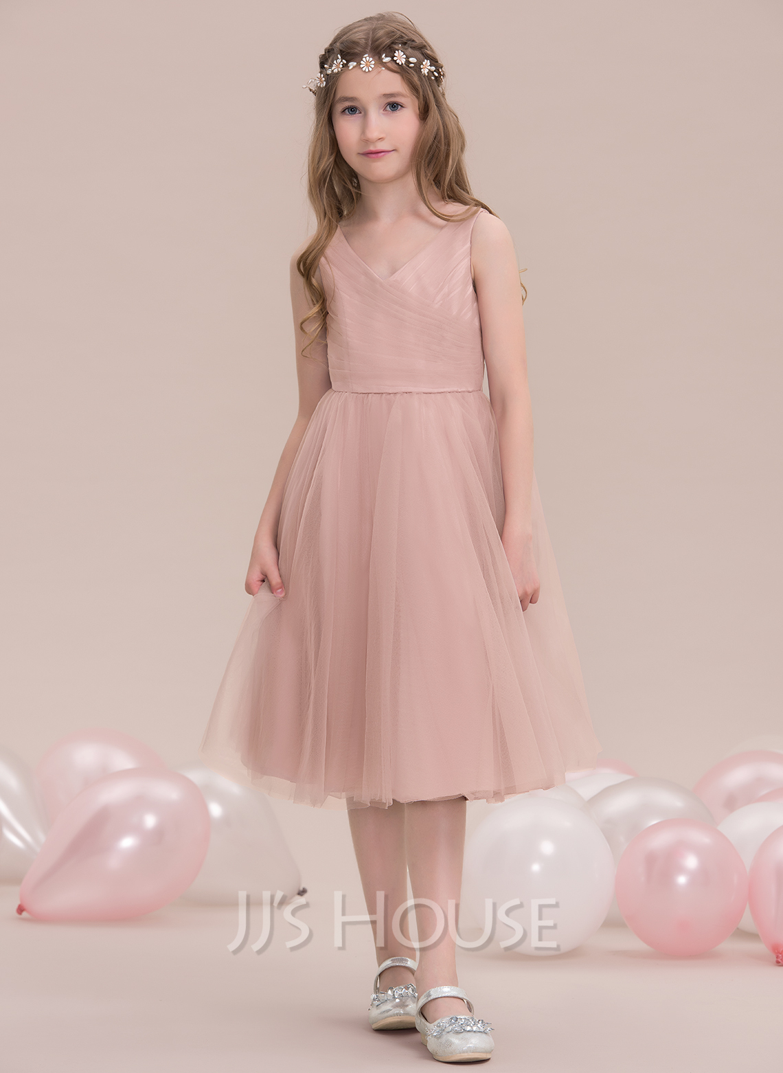 V-neck Knee-Length Tulle Junior Bridesmaid Dress With Ruffle