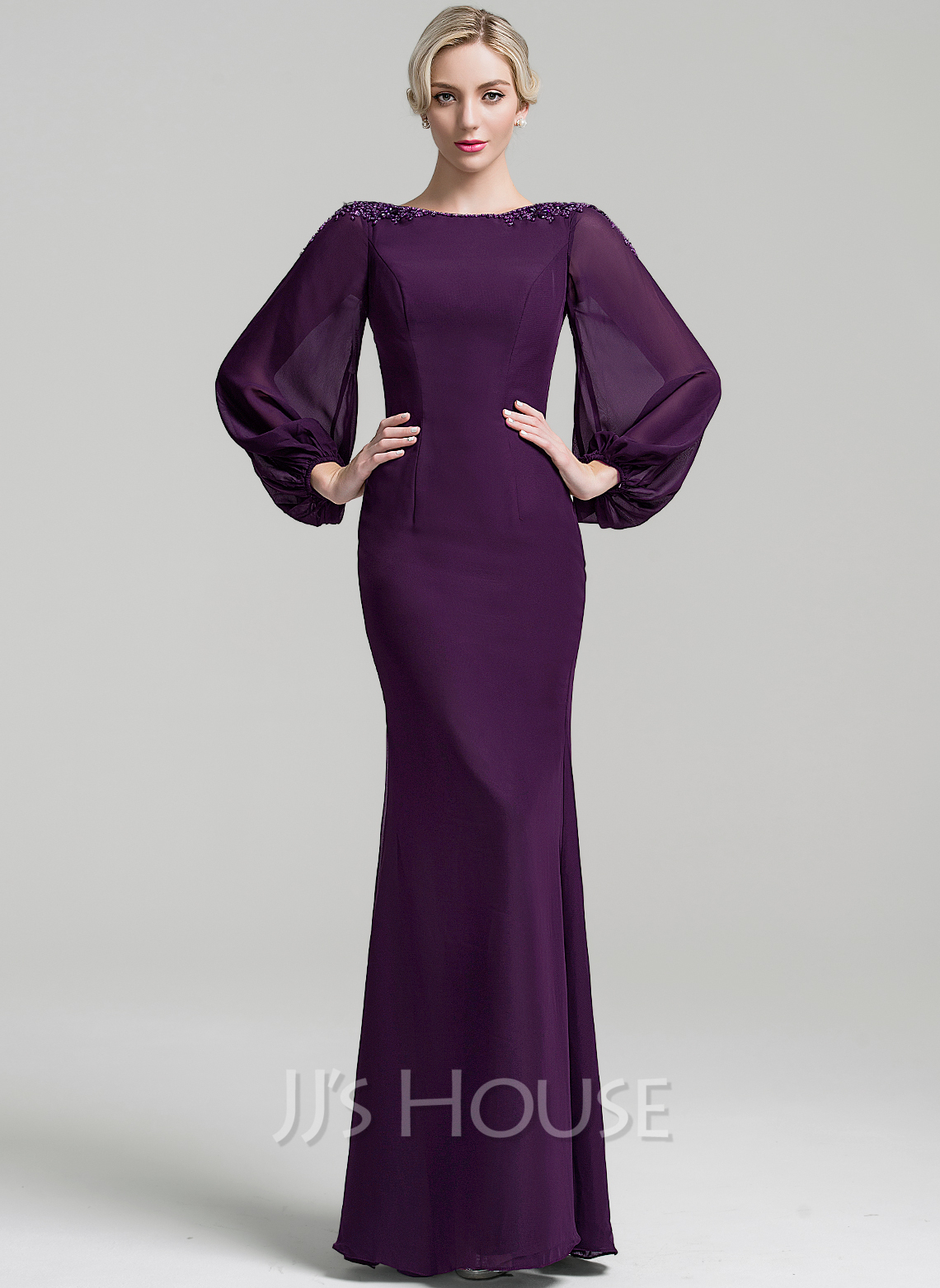 Trumpet/Mermaid Scoop Neck Floor-Length Chiffon Mother of the Bride Dress