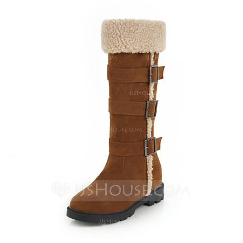 c85a7a2457a  US  43.00  Women s Suede Wedge Heel Boots Mid-Calf Boots With Buckle shoes  - JJ s House