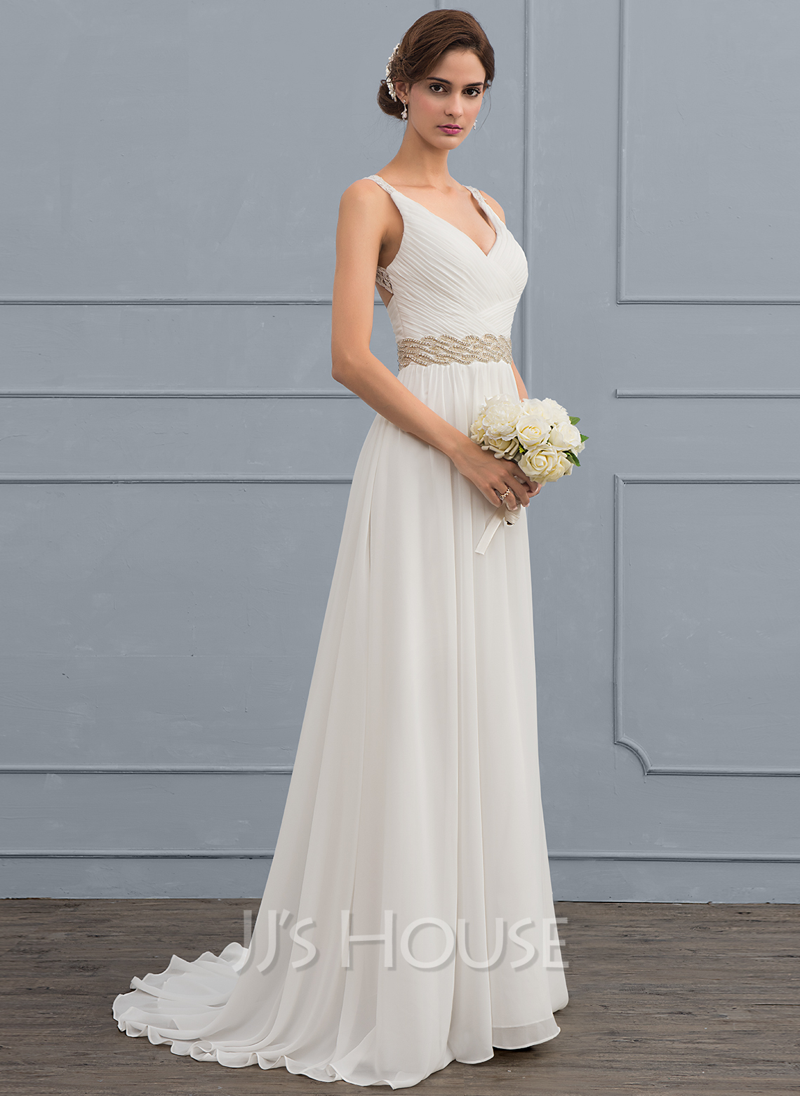 A Line V Neck Sweep Train Chiffon Wedding Dress With Ruffle Lace Beading Sequins 002118433 Jj S House,Wedding Reception Simple Nikkah Dresses For Bride