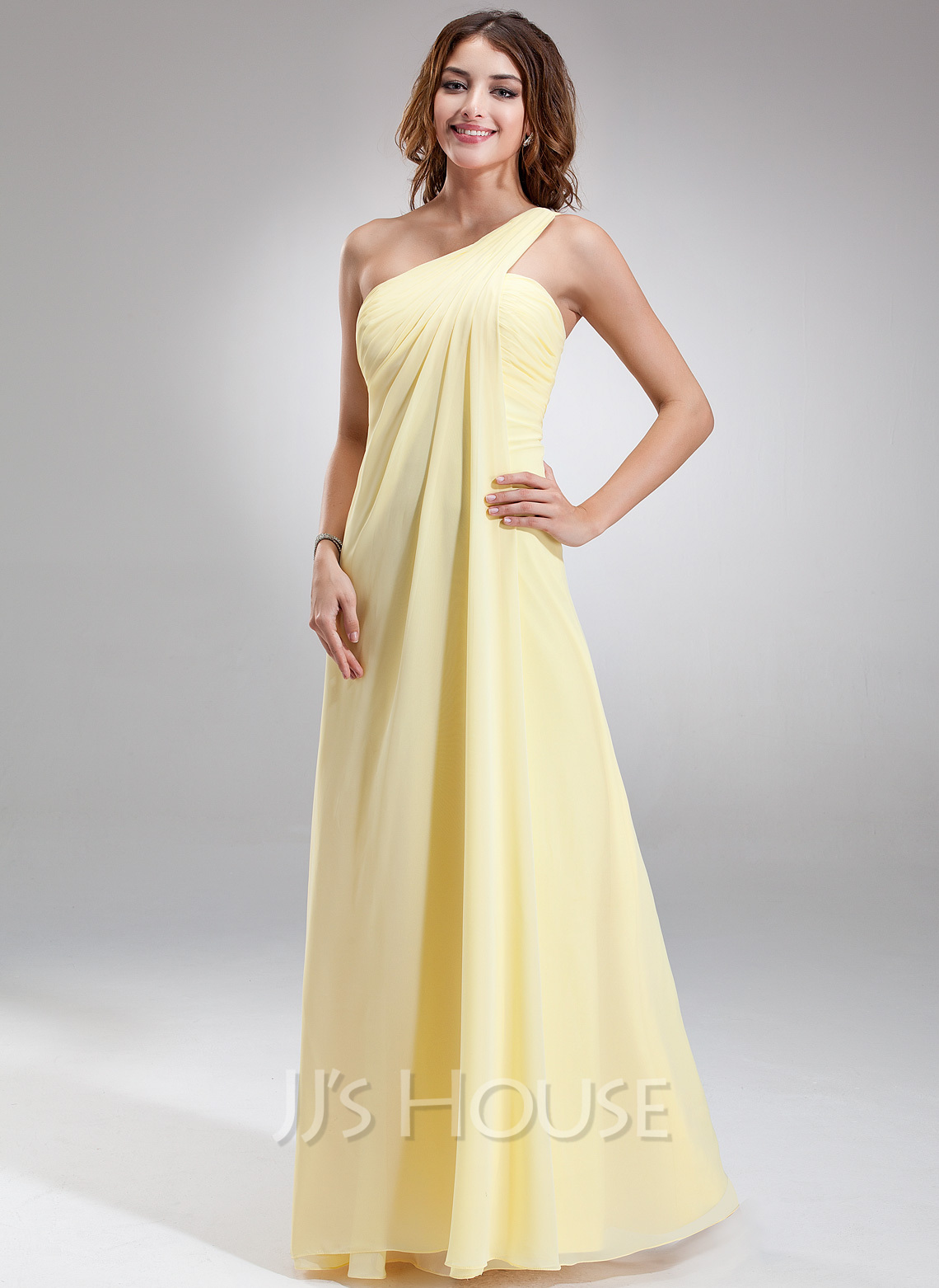 a3a09ba1d2 Chiffon Floor-length One–shoulder Empire Bridesmaid Dress. Loading zoom
