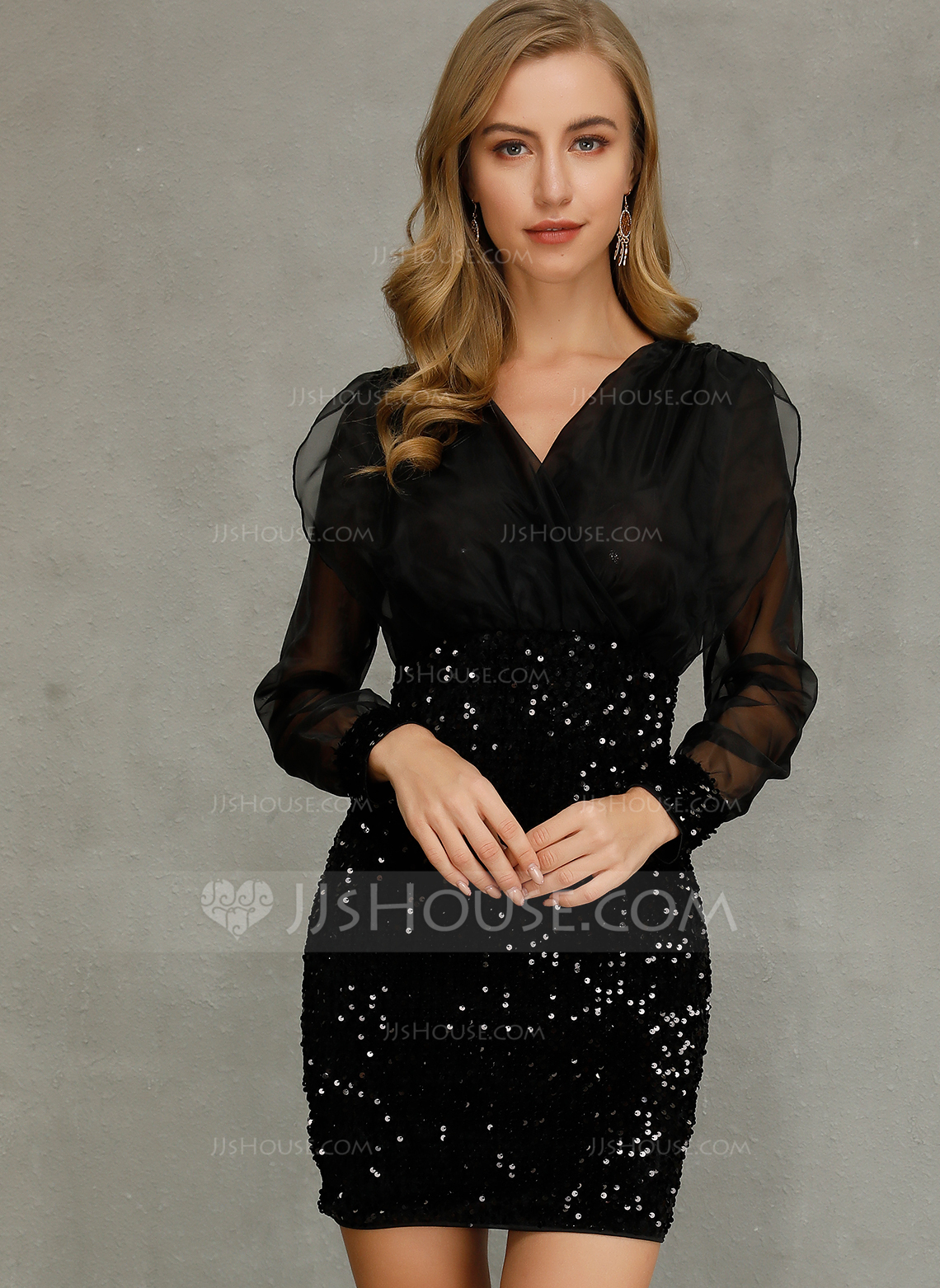 Polyester With Sequins Above Knee Dress